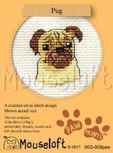 Mouseloft Pug Paw Prints cross stitch kit